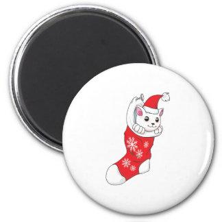 Custom Merry Christmas White Kitten Cat Red Sock Fridge Magnet
