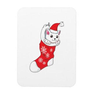 Custom Merry Christmas White Kitten Cat Red Sock Magnets