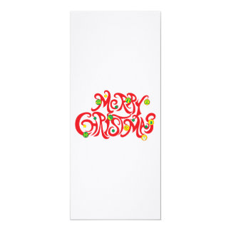 Custom Merry Christmas with Christmas Balls 4x9.25 Paper Invitation Card