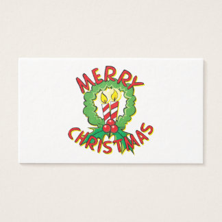 Custom Merry Christmas Wreath Candle Gift Wrappers Business Card
