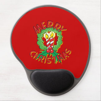 Custom Merry Christmas Wreath Candle Gift Wrappers Gel Mousepads