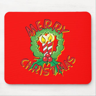 Custom Merry Christmas Wreath Candle Gift Wrappers Mouse Pad