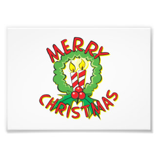 Custom Merry Christmas Wreath Candle Gift Wrappers Photo