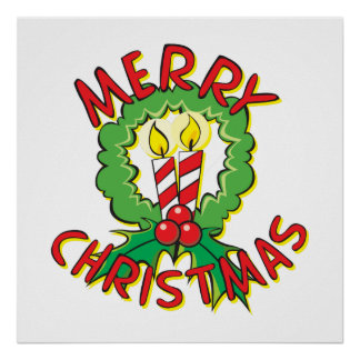 Custom Merry Christmas Wreath Candle Gift Wrappers Poster