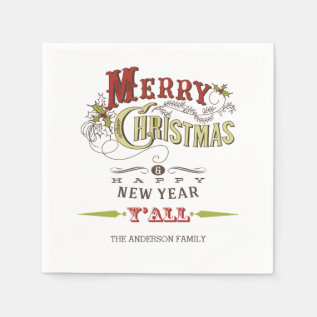 Custom Merry Christmas Y'all Holiday Paper Napkins at Zazzle