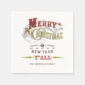 Custom Merry Christmas Y'all Holiday Paper Napkins Disposable Napkins