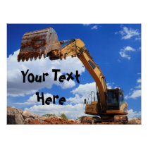 Custom Message Digger Excavator Tractor Poster
