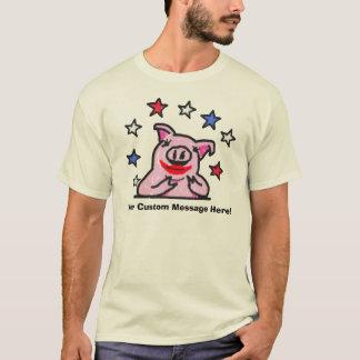 Custom Message Lipstick on A Pig T-Shirt