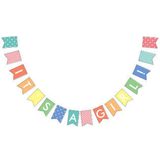 Bunting Flags - Custom Message Pastel Rainbow It's A Girl Banner