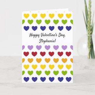 Custom Message Rainbow Hearts Stripes Pattern Card