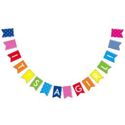Custom Message Rainbow It's A Girl Banner