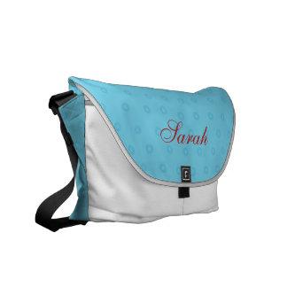 Custom Messanger Bag w/ Blue Polka Dots & Name Courier Bag