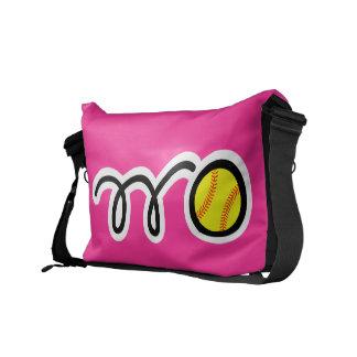 Custom messenger bag for softball players