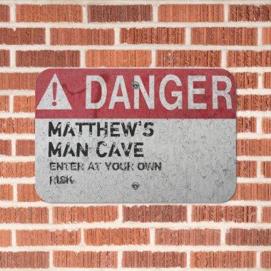 Custom Metal MANCAVE DANGER Rustic Bar Den Mens Metal Sign