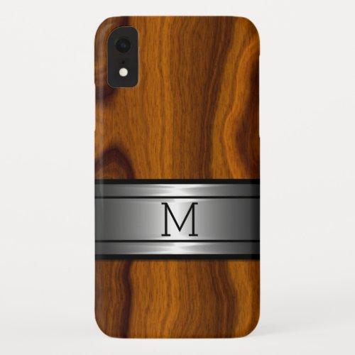 Custom Metal Modern Trendy Wood Grain Pattern Phone Case