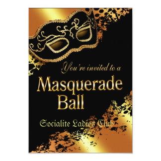 Custom Metallic Gold Masquerade Ball Invitation