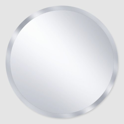 Custom Metallic Silver Blank Modern Template Classic Round Sticker