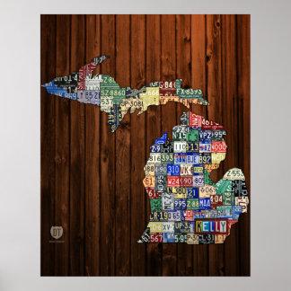 Custom Michigan License Plate Map w/ Name Poster