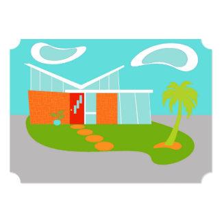Custom Mid Century Modern Cartoon House Invitation
