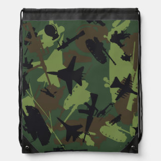 Custom Military Camouflage Pattern Cinch Bags
