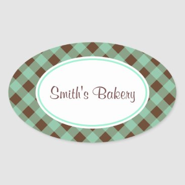 Professional Business Custom Mint Chocolate Gingham Stickers