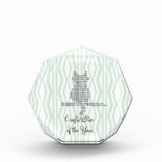 Custom Mint Cream Geometric Pattern Acrylic Award