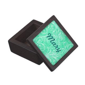 Custom Mint Green Ornamental Keepsake Box