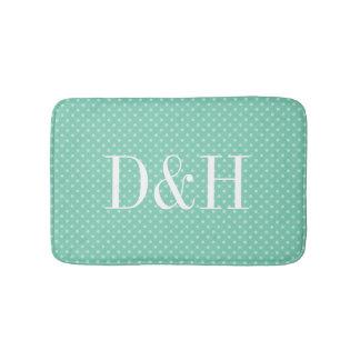 Custom mint polkadots pattern monogrammed bath mat bath mats