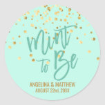 """Custom Mint to Be Mint Gold Confetti Wedding Classic Round Sticker<br><div class=""""desc"""">These are very elegant mint green mint to be wedding stickers / seals / labels with gold confetti. Use them for your wedding thank you gift favors and/or cards.  Can be edited with any info or delete where not required.  &#39;Mint to be&#39; can be changed to &#39;Thank You&#39;</div>"""