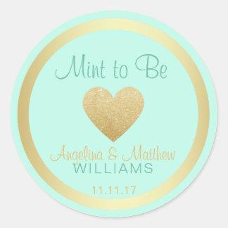 Custom Mint to Be Mint Gold Glitter Heart Wedding Classic Round Sticker