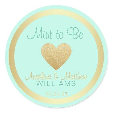 Valentines Themed Custom Mint to Be Mint Gold Glitter Heart Wedding Classic Round Sticker
