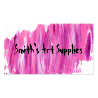 Custom Mixed Paint Streaked Art Supply Store Business Card