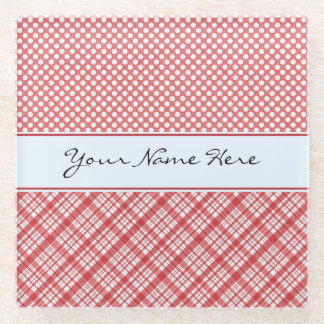 Custom Modern Bold Red Check Glass Coaster