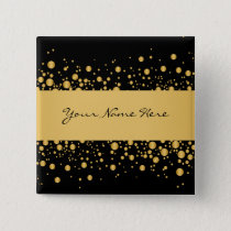 Custom Modern Bubbles | Exquisite Gold on Black Pinback Button