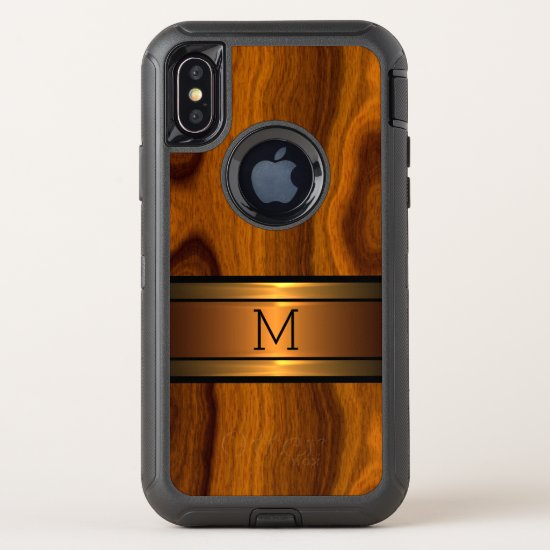 Custom Modern Cool Trendy Wood Grain Pattern OtterBox Defender iPhone X Case