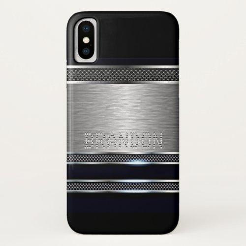 Custom Modern Faux Shiny Metal Stripes Pattern Phone Case