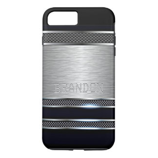 Custom Modern Faux Shiny Metal Stripes Pattern iPhone 8 Plus/7 Plus Case