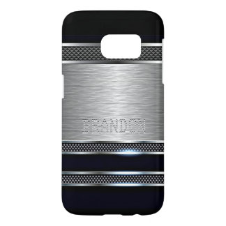 Custom Modern Faux Shiny Metal Stripes Pattern Samsung Galaxy S7 Case