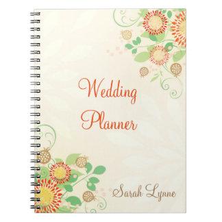 Custom Modern Floral Wedding Bride's Notebook