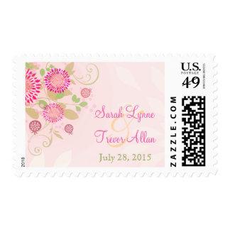 Custom Modern Floral Wedding Postage