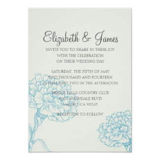 Custom Modern Flowers Wedding Invitations Card