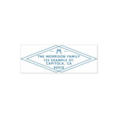 Custom Modern Geometric Family Name Return Address Self_inking Stamp