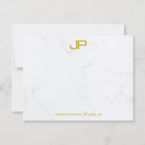 Custom Modern Gold White Marble Clean Personalized Note Card