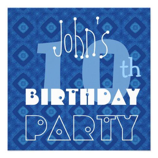 Custom Modern Kid's 10th Birthday Blue Diamond Y13 Personalized Invite