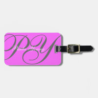 Custom Modern Monogram 2 (Pink) Bag Tag