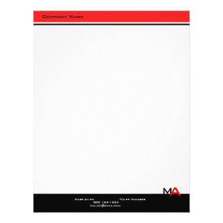 Custom Modern Monogram Black & Red Letterhead