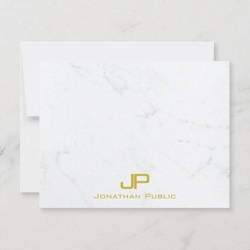 Custom Modern Monogram Gold White Marble Simple Note Card