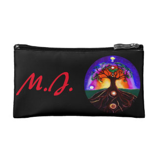 Custom modern multicolored tree of life makeup bags