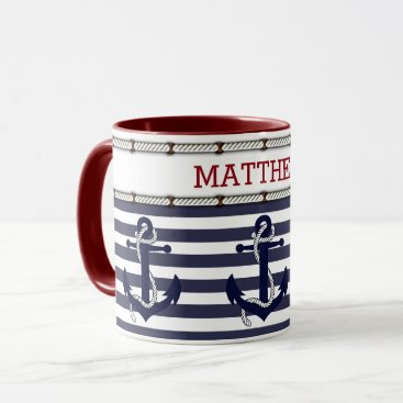 Beach Themed Custom Modern Nautical Anchor Chic Stripes Pattern Mug