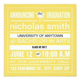 Custom modern poster graduation 5.25x5.25 square paper invitation card